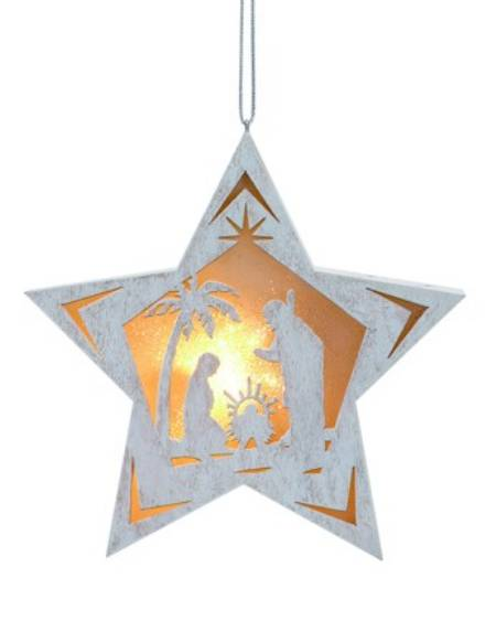 Lit Star Nativity Ornament