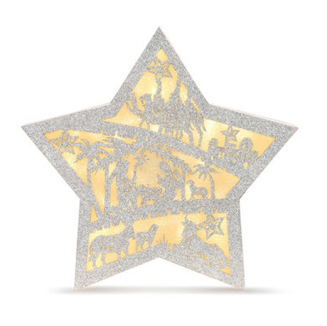Glittered Lighted Nativity Star LARGE