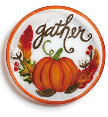 Glass Platter with Gather Pumpkin LARGE