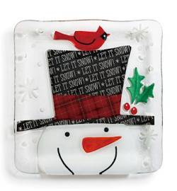 Snowman with Top Hat Square Plate