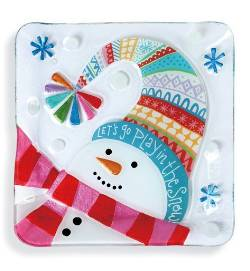 Let's Go Play Snowman Square Plate THUMBNAIL