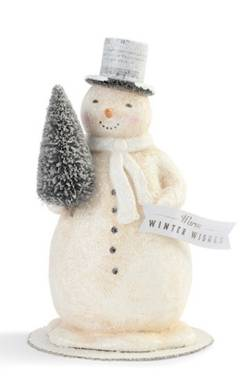 Winter Wishes Snowman with Tree Figure THUMBNAIL