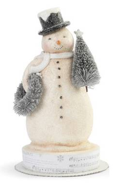 Winter Wishes Snowman with Wreath Figure THUMBNAIL