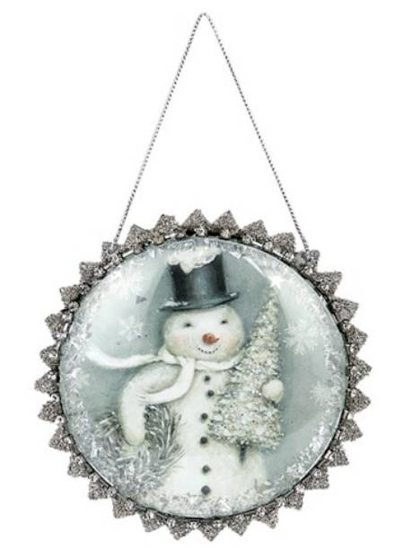 Snowman Glittered Glass Dome Ornament LARGE