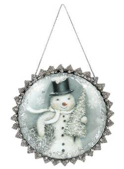 Snowman Glittered Glass Dome Ornament THUMBNAIL