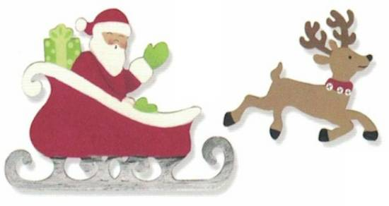 Santa's Sleigh with Reindeer Magnet Set