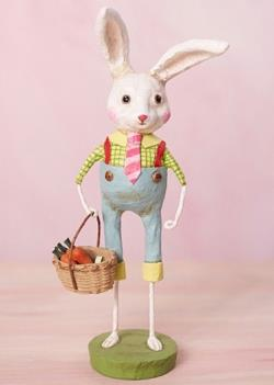 Easter Rabbit Figure with basket of carrots. THUMBNAIL