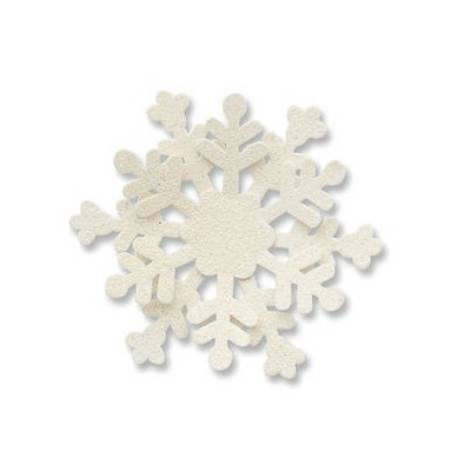 White Dimensional Glittered Snowflake Magnet