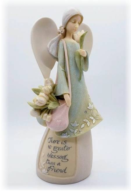 Angel with Tulips in messenger bag figure LARGE