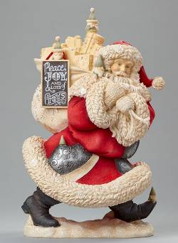 Santa holding toybag with elves