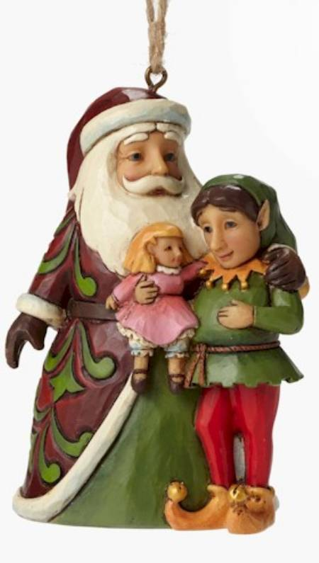 Santa with Elf Ornament