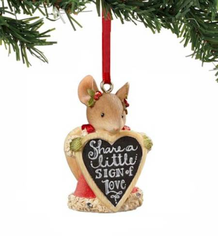 Mouse with Sign Ornament MAIN