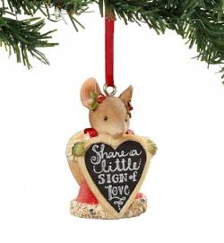 Mouse with Sign Ornament_THUMBNAIL
