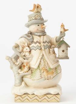 White Woodland Snowman with Birdhouse