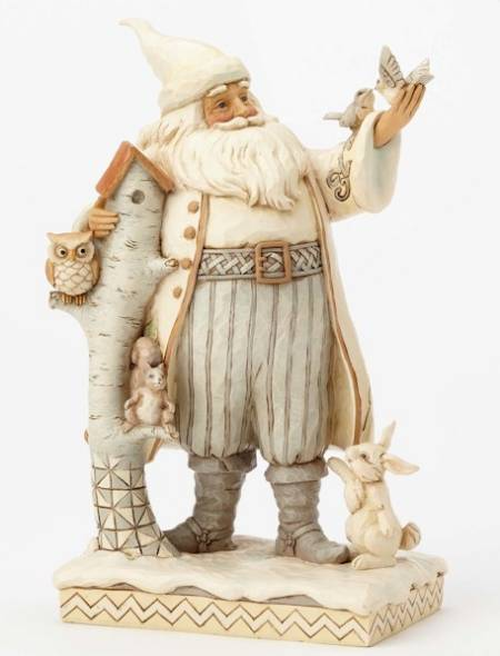 White Woodland Santa with Birch Birdhouse