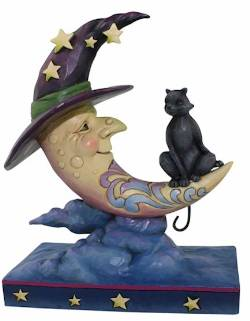 Crescent Moon Witch with Black Cat