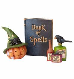 Witch Pumpkin Head with Spellbook