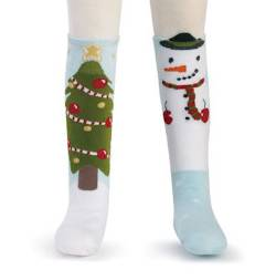 Snowman and Tree Knee Socks THUMBNAIL