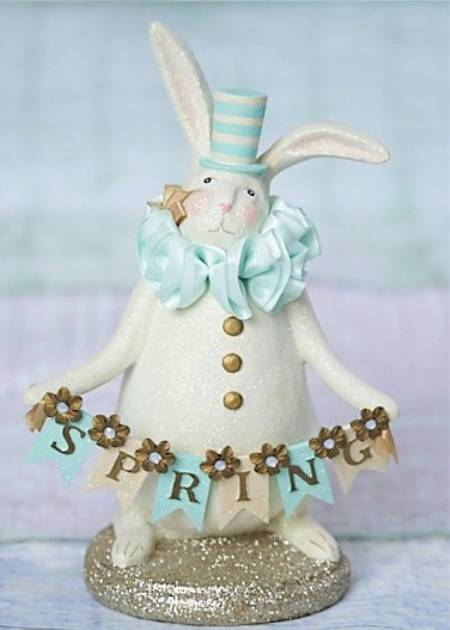 Bunny figure with tophat and Spring banner figure LARGE