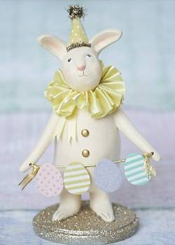 Easter bunny with party hat and egg banner figure THUMBNAIL
