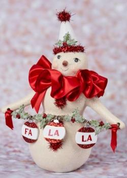 Snowman figure with Fa La La banner, party hat and red collar THUMBNAIL