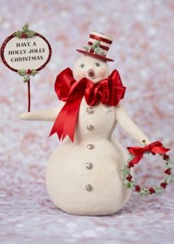 Snowman figure with hat, wreath and Christmas sign. THUMBNAIL