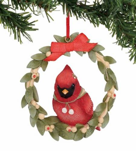 Cardinal in Wreath Ornament