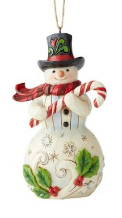 Snowman with Candy Cane Ornament_THUMBNAIL