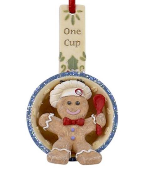 gingerbread man in a measuring cup ornament LARGE
