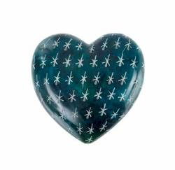 Blue Soapstone carved heart THUMBNAIL
