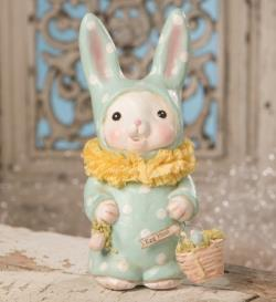 Bunny Figure in blue suit with egg hunt Easter Basket THUMBNAIL