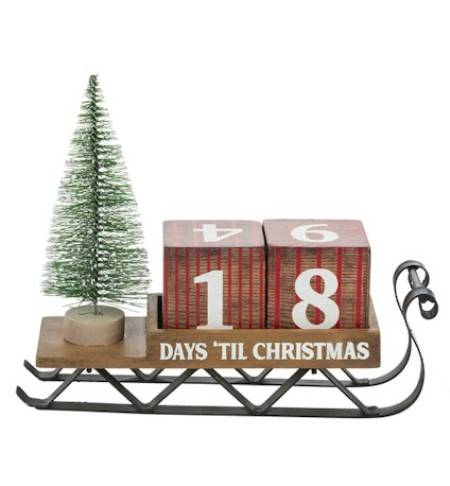 Wooden sleigh with Christmas Countdown Blocks LARGE