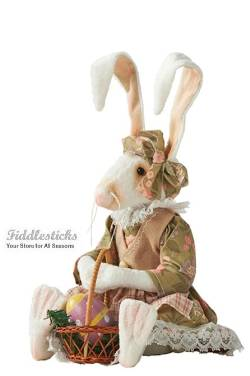 Easter Rabbit with basket of eggs collectible doll
