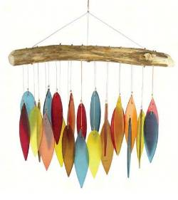 Driftwood and desert colored glass windchime THUMBNAIL