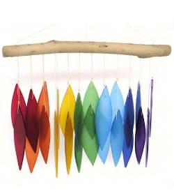 Driftwood and rainbow glass windchime THUMBNAIL