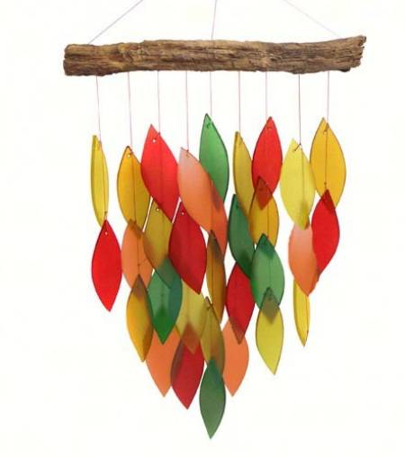 Driftwood and fall Colored Glass Windchime MAIN