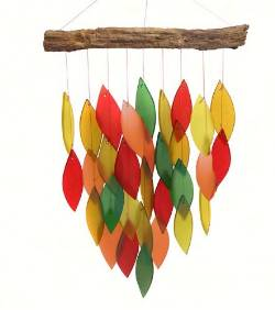 Driftwood and fall Colored Glass Windchime THUMBNAIL