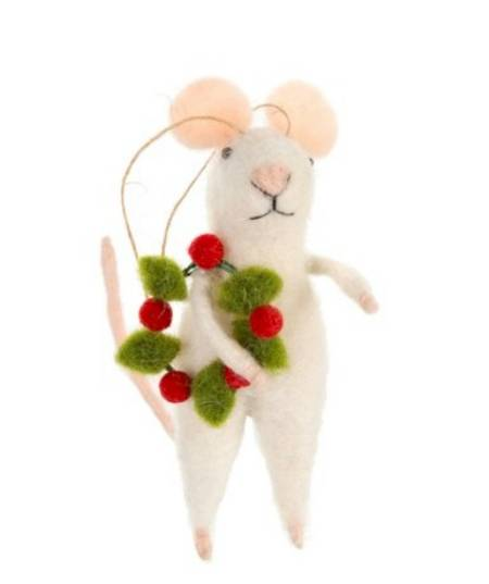 Mouse with Christmas Wreath Figure