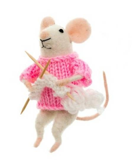 Mouse with Knitting Needles