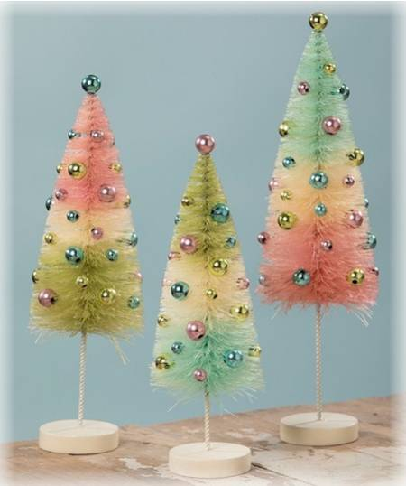 Pastel Confetti Bottle Brush Tree Set LARGE