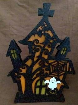 Orange Haunted House Lighted Centerpiece