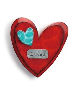 Red Carved Wooden Heart with Loved metal tag THUMBNAIL