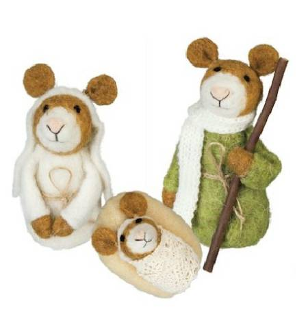 Wool Mice Holy Family Nativity