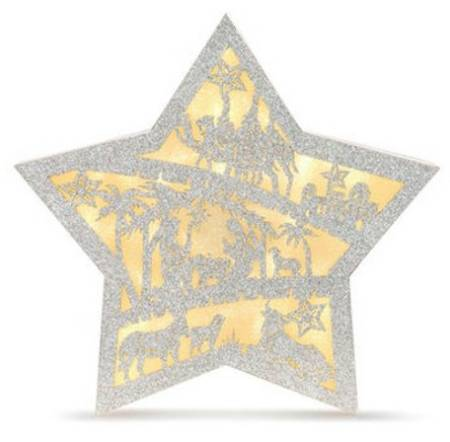 Glittered Lighted Nativity Star