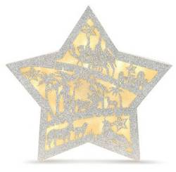 Glittered Lighted Nativity Star THUMBNAIL