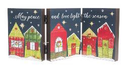 Three panel accordion Christmas sign with house scene THUMBNAIL