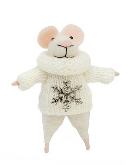Mouse Figure with Snowflake Sweater LARGE