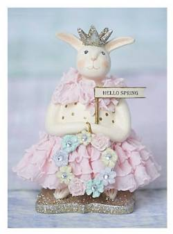 Rabbit Easter Figure with Floral Wreath and Hello Spring banner THUMBNAIL