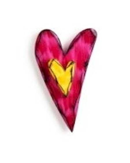 Pink and Yellow Carved Heart Wall Art