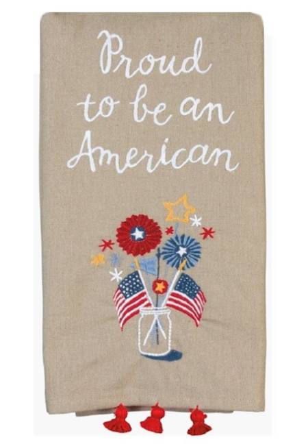 Linen Towel iwth embroidered Mason Jar, Flags and Fireworks LARGE